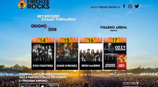 Firenze Rocks: Foo fighters, Guns N' Roses, Iron Maiden, Ozzy Osbourne
